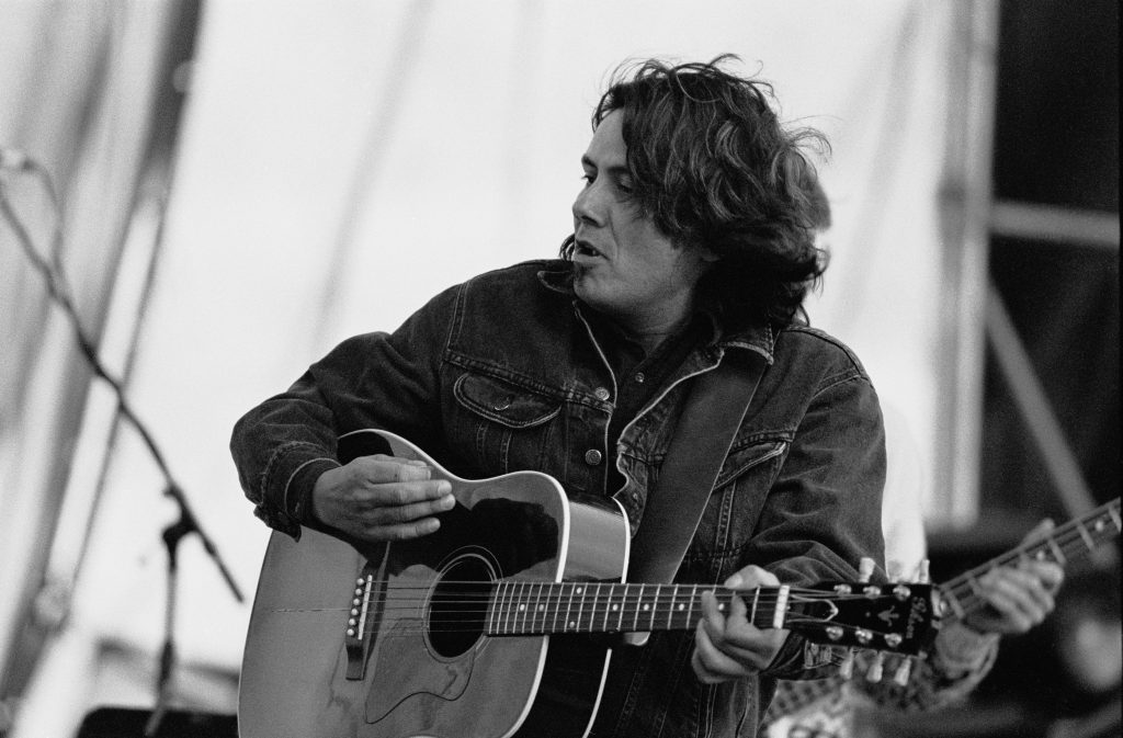 Canadian singer/songwriter Marcel Soulodre performing at the Red River Relief Concert in his home town of Winnipeg after the 1997 flood. Photo © Robert Tinker. Credit required.