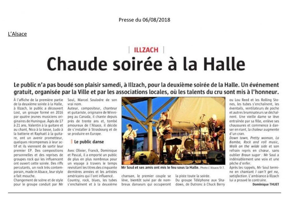 Article dans le journal L'Alsace le 6:08:18