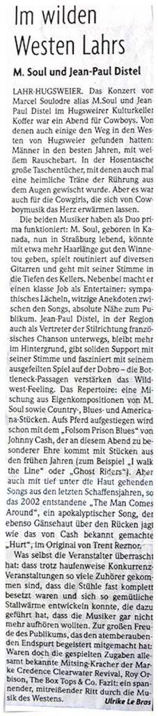 Article de la Badische Zeitung Lahr